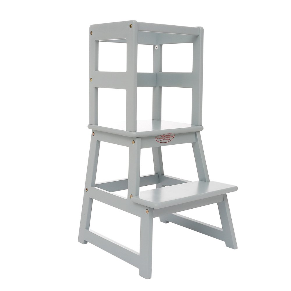 LT01-Grey Kids Kitchen Step Stool Kids Learning Stool Perfect for Toddlers Toddler Stool with Safety Rail-Solid Hardwood Construction UNICOO
