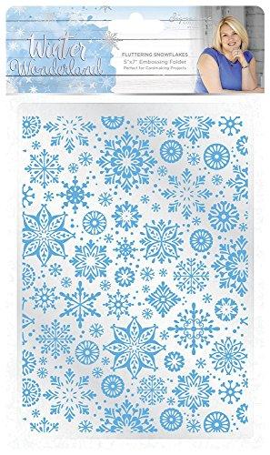 Sara Siganture S-WW-EF5-FSF Sara Signature Winter Wonderland-5x7 Fluttering Snowflakes Embossing Folder, White