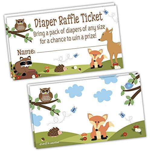 50 Woodland Diaper Raffle Tickets - Boy Baby Shower Game]()