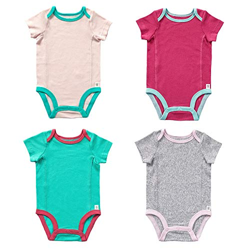 Fruit of the Loom Baby 4-Pack Short-Sleeve Grow & Fit Bodysuits - Unisex, Girls, Boys (6-12 Months, Grey, Green, Light Pink, Pink)