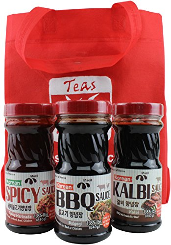 Korean BBQ Barbecue Meat Sauce and Marinade, 3 Jar Set: Kalbi, Bulgogi and Spicy Sauces, - Barbecue Sauces List Of