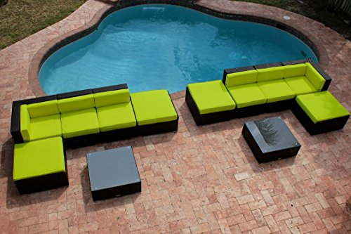 Cheap AKOYA Wicker Collection 12 Piece Outdoor Patio Furniture Modern Sofa Couch Sectional Modular Set (Lime Green)