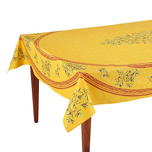 Occitan Imports Clos des Oliviers Safran Rectangular French Tablecloth, Coated Cotton, 63 x 98 (6-8 people)