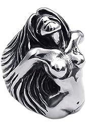 KONOV Vintage Stainless Steel Angel Goddess Biker Mens Ring, Color Black Silver