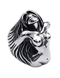 Konov Jewelry Vintage Stainless Steel Angel Goddess Biker Mens Ring, Black Silver, with Gift Bag, C22488