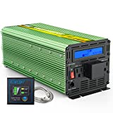 EDECOA Power Inverter 3000 Watt DC 24V to AC 120V Power Converter with LCD Display and Remote Controller - Green