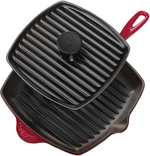 Le Creuset Enameled Cast-Iron Panini Press Skillet Grill Set, Cerise (Cherry Red)