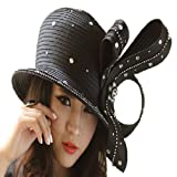 June's Young Formal Wedding Party Women Hats Elegant Two Colors Stones