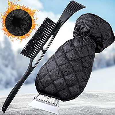 Faminess Ice Scraper Snow Brush 2in1 Car Scrape Removal Snow Mover for Car Auto SUV Truck Windshield Window Glass Scrape Frost Ice Remover The Almost Indestructible Windscreen Scraper