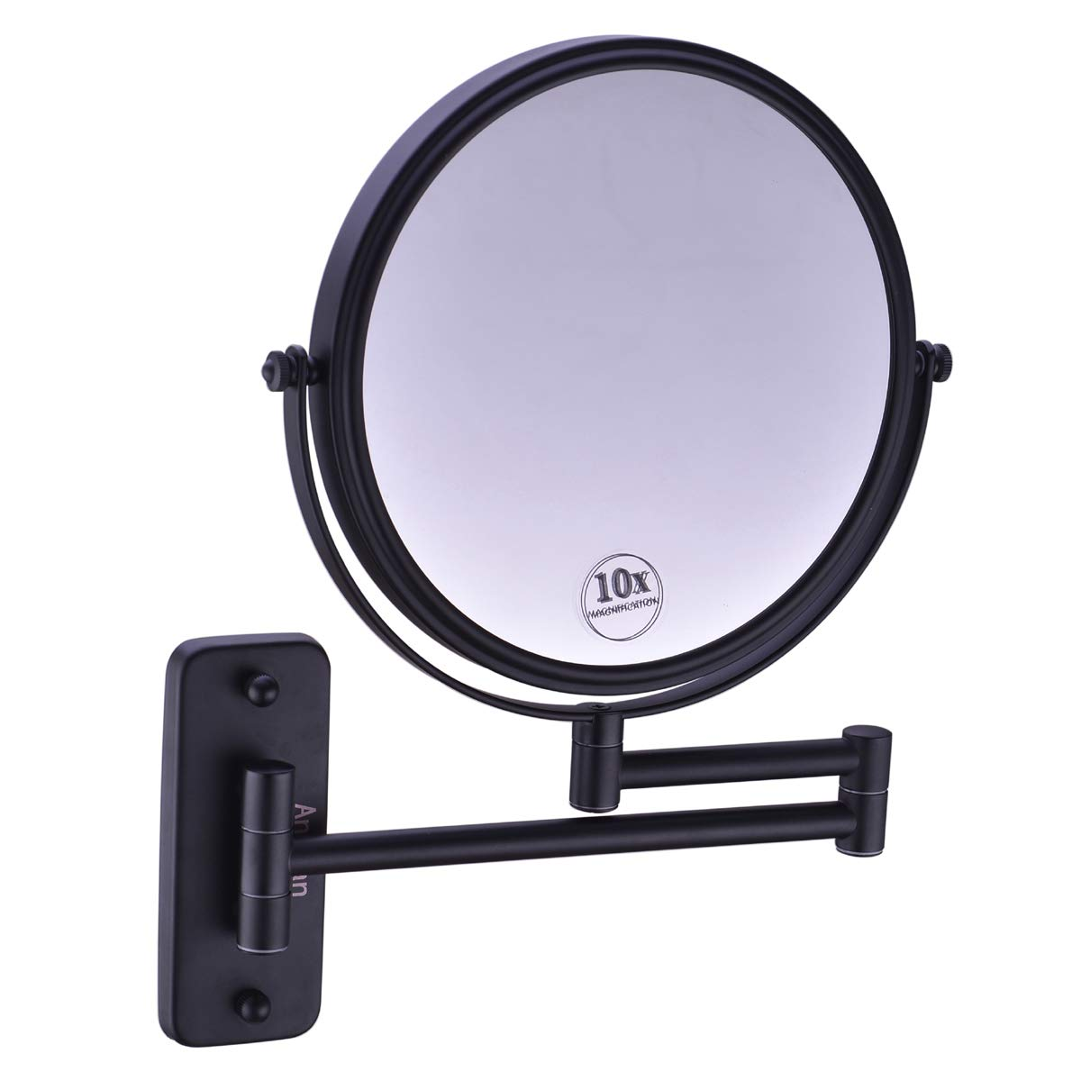 Anpean 8 Inch Double Sided Swivel Wall Mounted Makeup Mirror with 10x Magnification, Matte Black