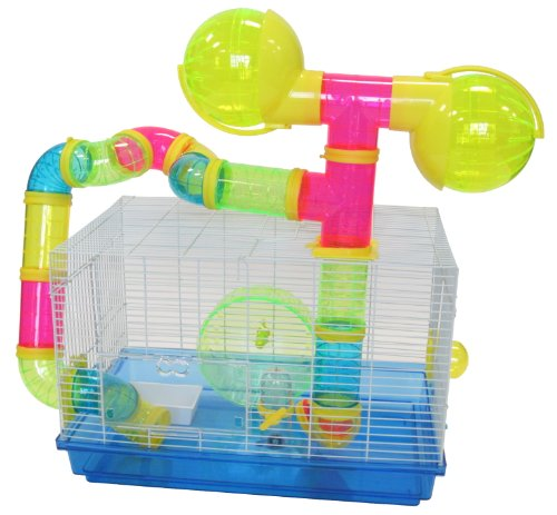 YML Dwarf Hamster Mice Cage with Color Tubes and Accessories, Blue