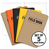 """Field Notebook - 3.5""""x5.5"""" - Combination of Kraft, Black, Orange, Yellow - Lined Memo Book - Pack of 5"""
