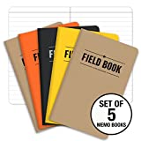 "Field Notebook - 3.5""x5.5"" - Combination of Kraft, Black, Orange, Yellow - Lined Memo Book - Pack of 5"