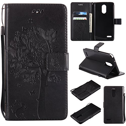 Price comparison product image NOMO LG Stylo 3 Case, LG Stylo 3 Plus Wallet, LG Stylo 3 Flip Case PU Leather Emboss Tree Cat Flowers Folio Magnetic Kickstand Cover with Card Slots for LG Stylo 3 / Stylus 3 Black
