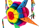 Colorful Foldable RAINBOW PIÑATA - 20.5 '' Inches Cardboard Star Mexican Piñata Party Decoration - Handmade in Mexico - Fiesta Pinata Cinco De Mayo/Mexican Party Favors/Supplies/Decorations