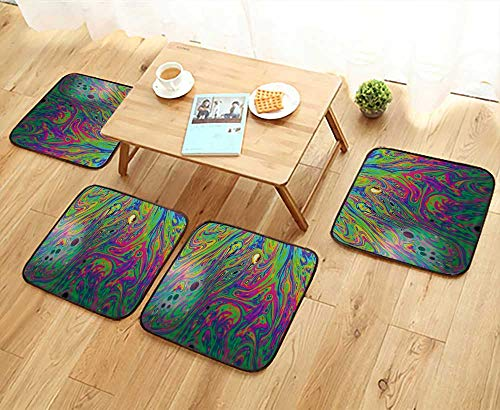 (UHOO2018 Chair Cushions Rainbow Colors Created by soap Bubble or Oil Makes can use for Background Non Slip Comfortable W25.5 x L25.5/4PCS Set)