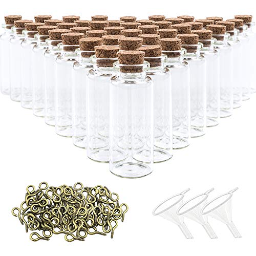 SUPERLELE Glass Bottles with Cork 48pcs 20ml Mini Glass Bottles Cork Jars with 48pcs Eye Screws 3pcs Funnel (Mini Eye Glasses)