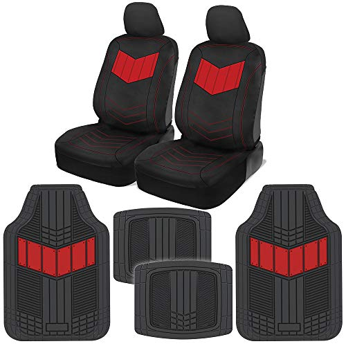 2002 Kia Sedan Rio - Motor Trend C304 Red ComfortPlush PU Leather Sideless Seat Covers (Front 2pc) & Heavy-Duty Rubber Floor Set (4pc Mat Combo) for Car Auto (Sedan Truck SUV Minivan)
