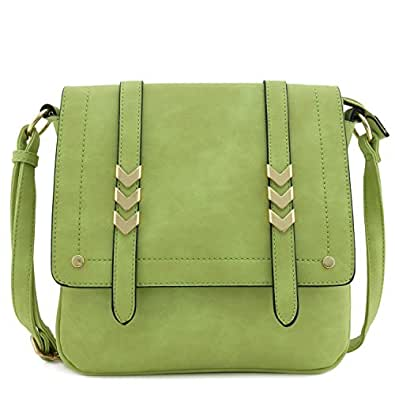 Double Compartment Large Flapover Crossbody Bag Green Size: One Size