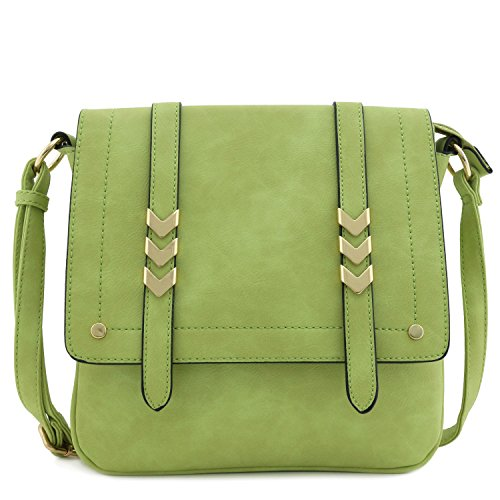 - Double Compartment Large Flap Over Crossbody Bag Apple Green