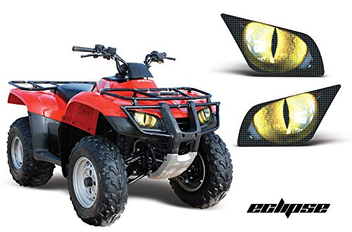 AMR Racing ATV Headlight Eye Graphic Decal Cover for Honda Recon 05-14 - Eclipse Yellow ()