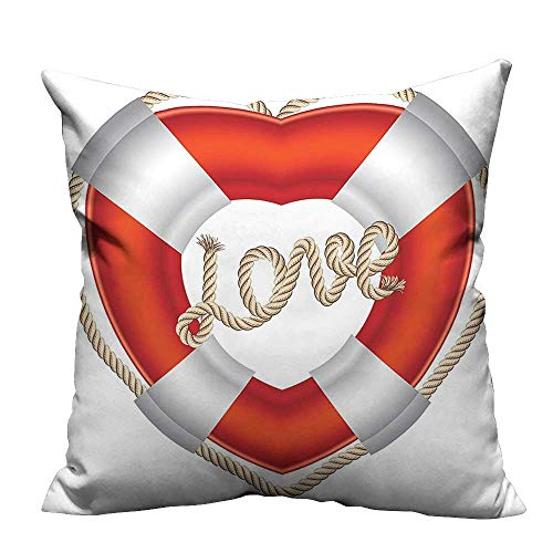 YouXianHome Sofa Waist Cushion Cover Heart Shaped Life Belt Valentine Love Affection Honeymoon Romantic Art Decorative for Kids Adults(Double-Sided Printing) 21.5x21.5 inch ()
