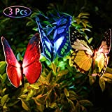 Outdoor Garden Solar Lights Flowers - 3 Pack Butterfly Flower Solar Powered Stake Light with Color Changing LED Garden Decorative Lights for Garden Patio Yard Housewarming Gifts (3 Pack Butterfly)