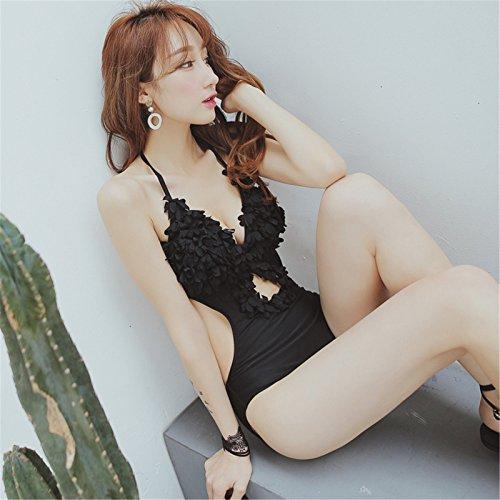 Ropa Traje De Baño De Una Pieza Para Mujer Cuello Hálter 3D Flor con Abertura Moderate Trikini Monokini Swimsuit Negro