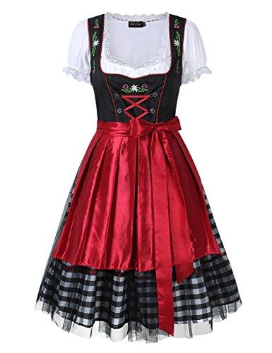GloryStar Women's German Dirndl Dress 3 Pieces Oktoberfest Costumes (L, Mesh-Red-Two) by GloryStar (Image #1)