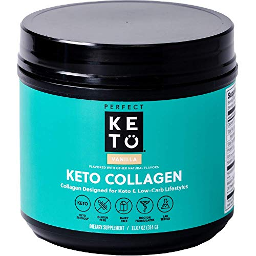 Perfect Keto Collagen Protein Powder with MCT Oil - Grassfed, GF, Multi Supplement, Best for Ketogenic Diets, Use as Keto Creamer, in Coffee and Shakes for Women & Men