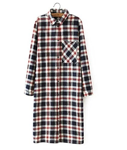 Women Shirt Dress Fashion Autumn Cotton Plaid Print Front back buttons pocket long Sleeve Turn-down Collar casual brand Size:M