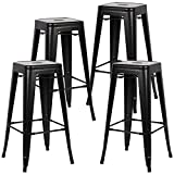 Poly and Bark EM-126-BLK-X4-A Trattoria Bar Stool (Set of 4), Black For Sale
