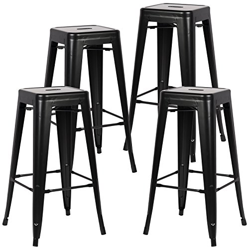 Poly and Bark Trattoria Bar Stool in Black (Set of 4) ()