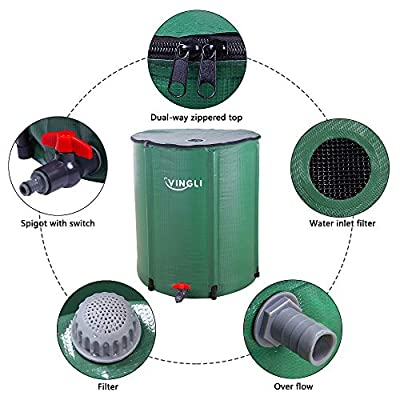 VINGLI Collapsible Rain Barrel 50 Gallon, Portable Water Storage Tank, Rainwater Collection System Downspout, Water Catcher Container with Filter Spigot Overflow Kit from VINGLI