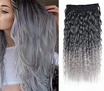 Amazoncom 22 Curly Off Black To Silver Grey Two Colors Ombre