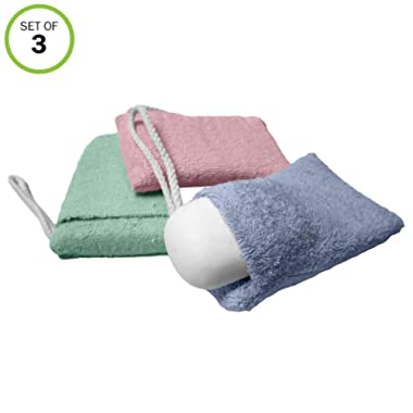 Evelots Soap Saver-Holder-Pocket-Bag-100% Terry Cloth-On a Rope-Smooth-Set of 3