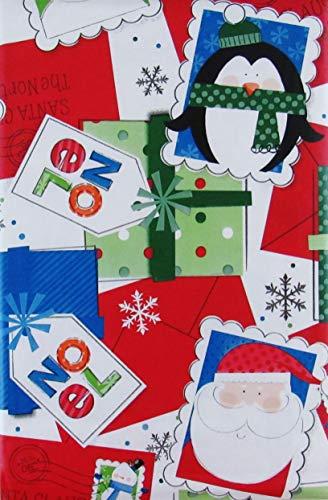 Santa's North Pole Christmas Mail Vinyl Flannel Back Tablecloth (52