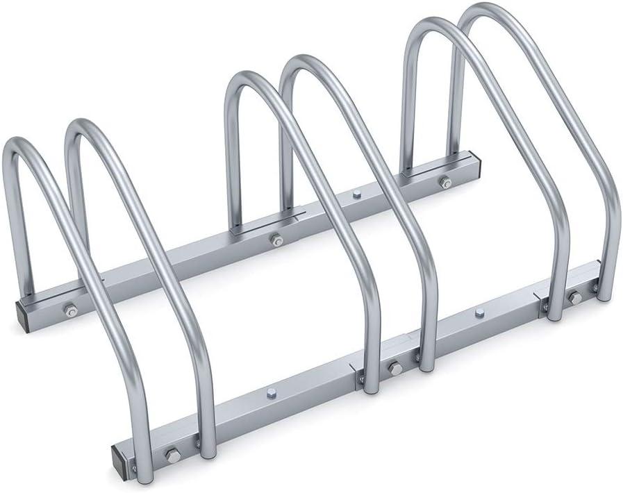 Monzana Aparcamiento para bicicletas soporte y organizador para 3 bicis para interior y exterior para pared y suelo