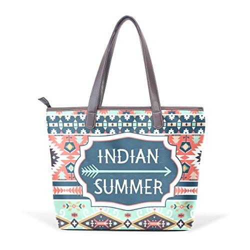 COOSUN Womens Geometrische Muster Pu Leder Große Einkaufstasche Griff Umhängetasche