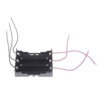 Terrarum - Caja de plástico para 3 pilas 18650 de 3,7 V con cable de alimentación, color negro: Amazon.es: Industria, empresas y ciencia