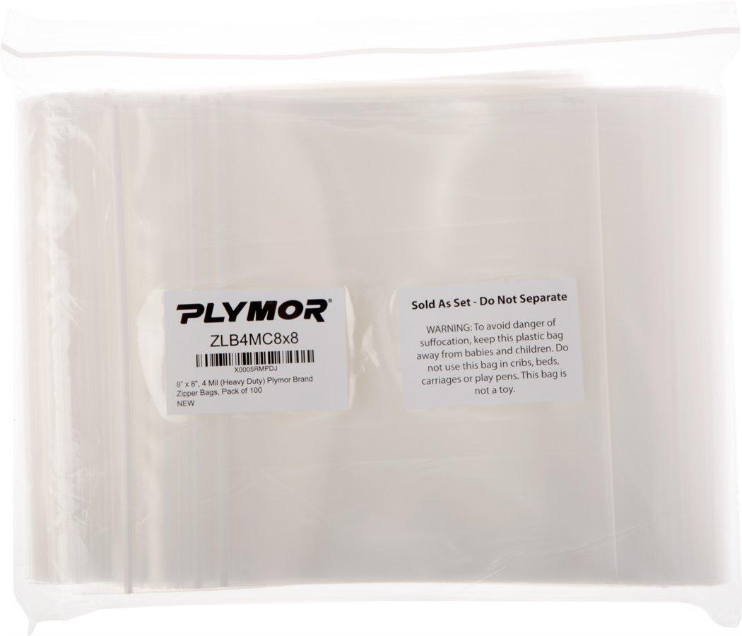 Plymor 8'' x 8'', 4 Mil (Pack of 100) Heavy Duty Plastic Reclosable Zipper Bags by Plymor