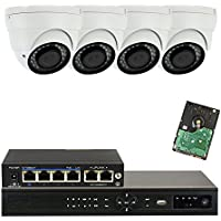 GW Security 4CH 1080P NVR IP Security Camera System - 4 x HD 1080P 2MP 2.8-12mm Varifocal Zoom 80ft IR PoE IP Dome Camera