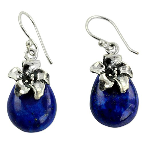 NOVICA Lapis Lazuli .925 Sterling Silver Floral Dangle Earrings 'Lovely (Lapis Lazuli Flower)
