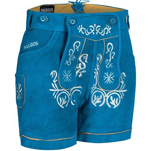 PAULGOS Damen Trachten Lederhose + Träger Echtes Leder Kurz Blau M2, Damen Größe:42