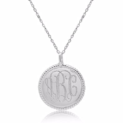 amazon com sterling silver rope accent disk monogrammed pendant