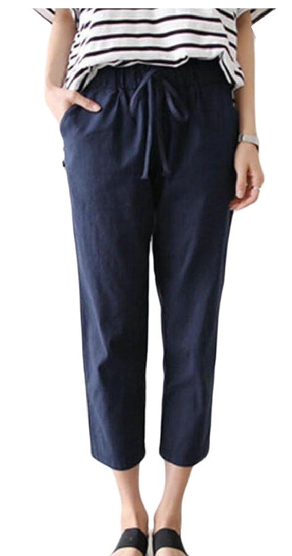 Gocgt Women's Elastic Waist Capris Pants Cotton Linen Cropped Pant