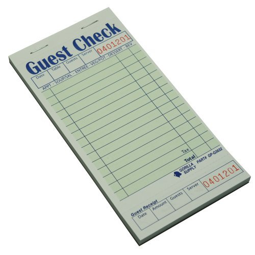 (2500) Heavy Thickness 1 Part Single Guest Check Pad, Green for Restaurant (3.5W X 6.75L Board CASE) by Gorilla Supply