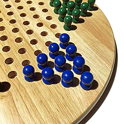 WE Games Solid Wood Chinese Checkers Board Game with Pegs- 11.5 in.: Toys & Games