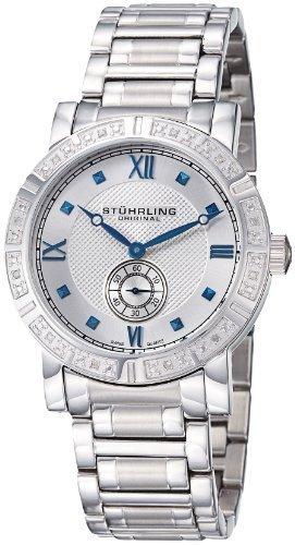 Stuhrling Original Men's 315G2.33112 Regent Swiss Quartz Diamond Silver Tone Dial Watch