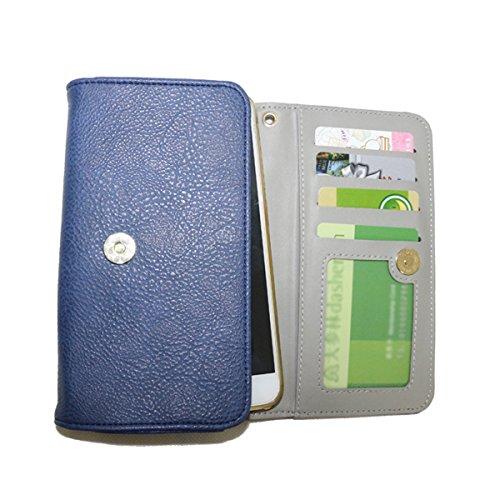 Conze moda teléfono celular Llevar bolsa pequeña con Cruz cuerpo correa para Asus Zenfone Zoom 3ze553kl (ze520kl/tóner zc551kl/ze552kl), Yezz Andy 4e4/5EI3(2016)/4.5el LTE/5M, ZTE Blade V8/Pro/Mini azul